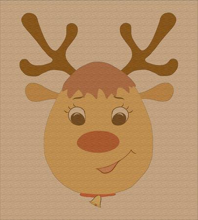 Cute Christmas deer with bell