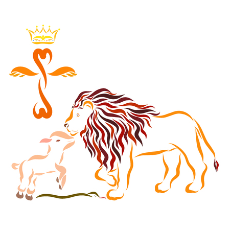 Cross with a crown, lamb, lion and serpent, Christs victory
