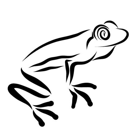 Frosch mit großen Augen, schwarze Skizze, Muster Standard-Bild