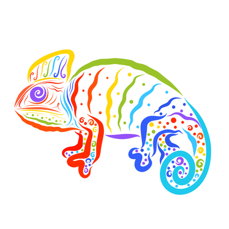 Creatine chameleon with a pattern, seven colors of the rainbow Stock Photo