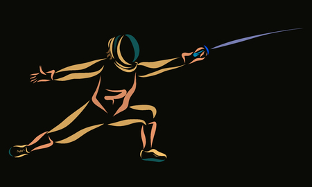Man with a sword in his hand, sport, fencing, black background