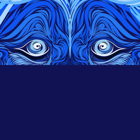 look predator, blue mystical background with lion eyes, creative pattern