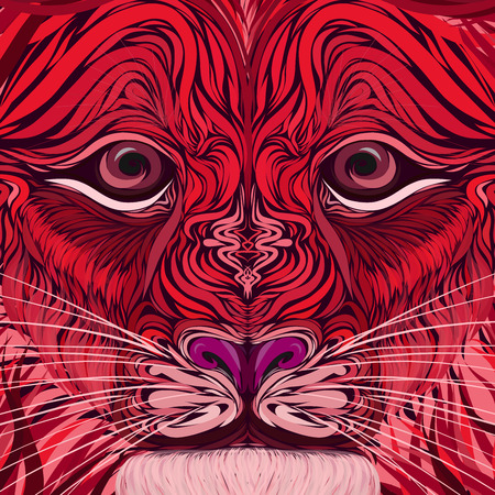 face of a fire lion with a clever look Banco de Imagens