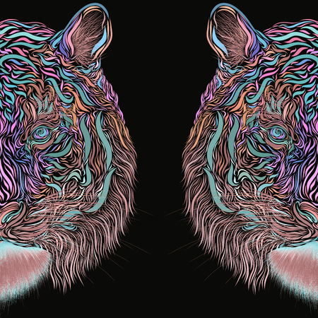 Abstract creative image of a tiger on a black background Banco de Imagens