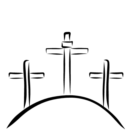 Three crosses on the hill, Golgotha, Christian symbols Stockfoto