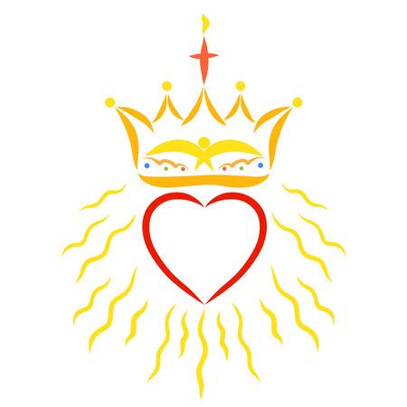 Krone mit Kreuz, Flamme und Vogel über leuchtendem Herzen