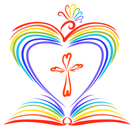 A rainbow-colored bird creating a heart, an open book and a cross