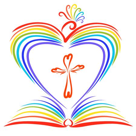 Een regenboogkleurige vogel die een hart, een open boek en een kruis creëert