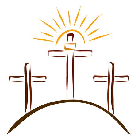 Calvary, three crosses and a shining sun Stock Photo