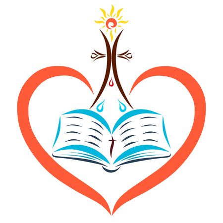 The open Bible in the heart, the shining sun over the cross