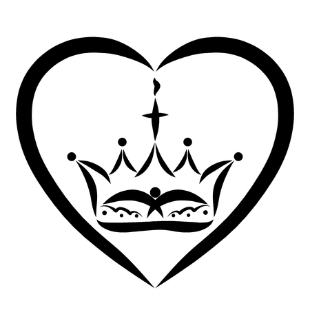 Crown with a cross, flame and a bird in the heart, the reign of God