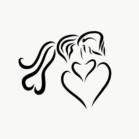 Passionate kiss, logo, creative image