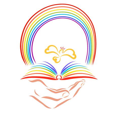 Een opengeslagen boek in de hand, een vliegende vogel en een kleurrijke regenboog