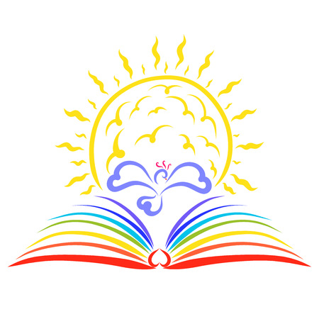 The shining sun above the rainbow book and the bird between them