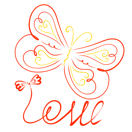 The word LOVE with a bow and a wonderful flying butterfly