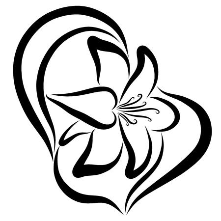 Elegant lily, black pattern, dancing flower, contour Imagens