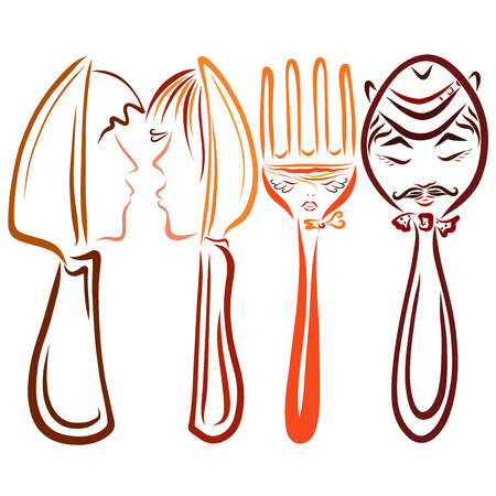 Cutlery set, two couples in love, family