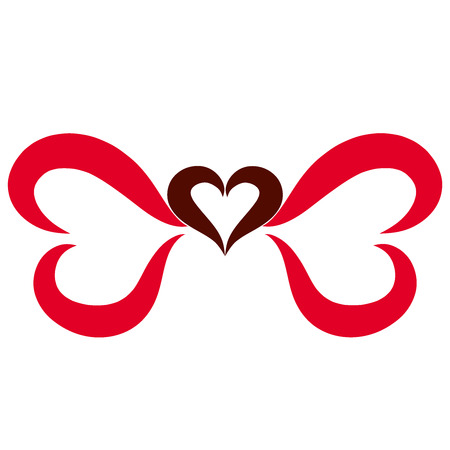 Elegant bow of red and brown hearts