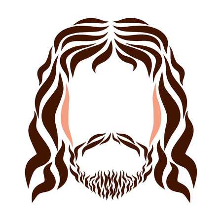 The Lord Jesus, the head painted in smooth color lines