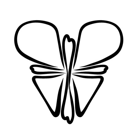 Butterfly, cross and heart, Christian symbolism, black pattern