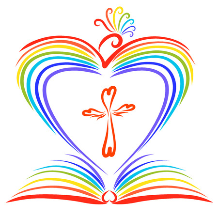 A rainbow-colored bird creating a heart, an open book and a cross