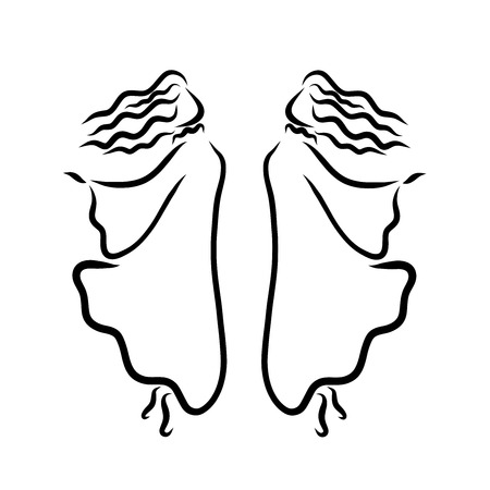 Two dancing girls in long dresses, movement