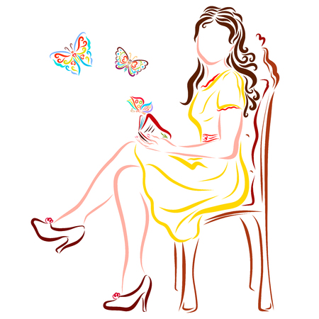 A beautiful lady in a chic chair with a book from which butterflies fly out