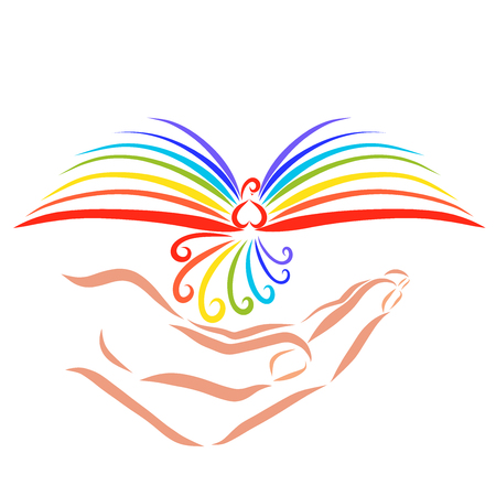 Rainbow book in the form of a bird in hand