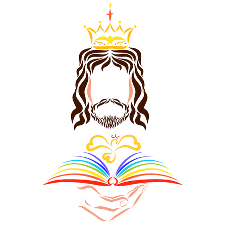 King Jesus with a book of life or the Bible and a flying bird Фото со стока