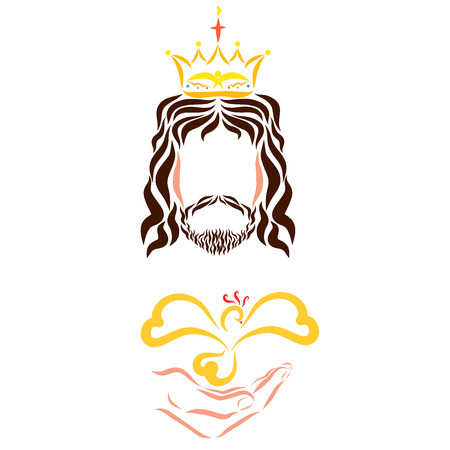 King Jesus Christ with a bird in his hand