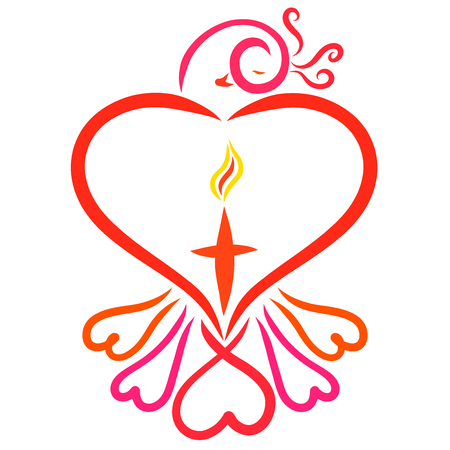 Elegant bird with hearts and cross with flame