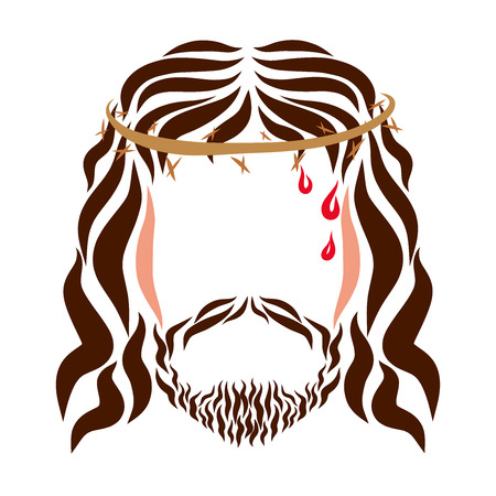 The Head of the Merciful Lord Jesus in the Thorns Stock Photo