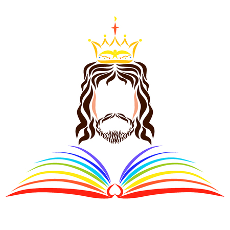 Het open regenboogboek des levens voor de regerende Heer Jezus