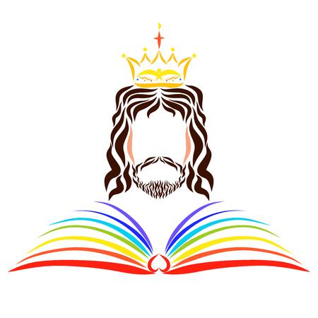 Le livre arc-en-ciel ouvert de la vie devant le Seigneur Jésus régnant