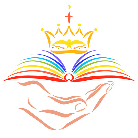 Christian crown over rainbow book in hand