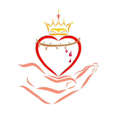 Heart with a crown and crown of thorns in the hand of the Savior