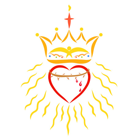 Heart with crown of thorns, crown and radiance