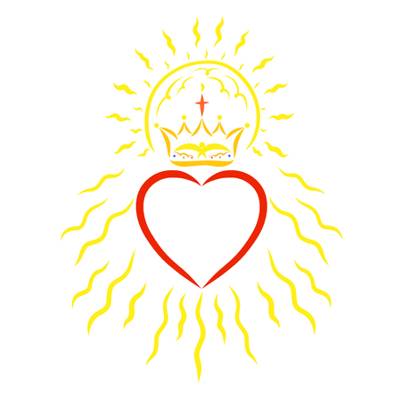 Heart with a crown, sun and rays