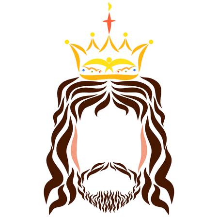 The head of the Lord Jesus in the crown with a cross and the image of a bird