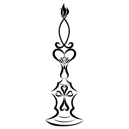 Candle in the form of a symbolic fish on a candlestick with a cross and a lily