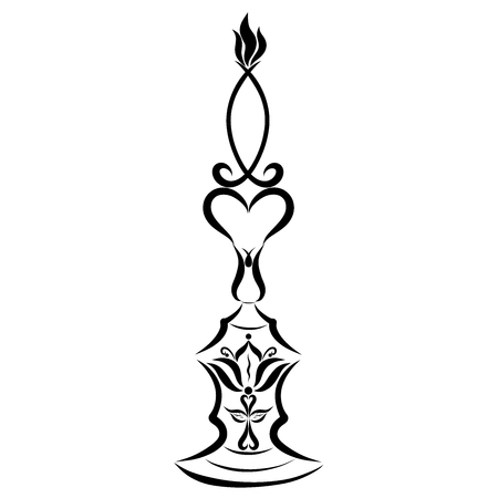 Christian candle, candlestick with cross and lily, symbolic fish