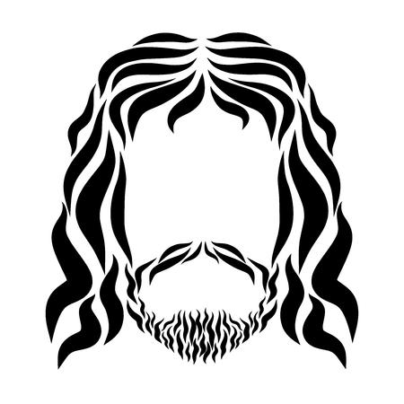 Lord Jesus, sketch with black wavy lines, head