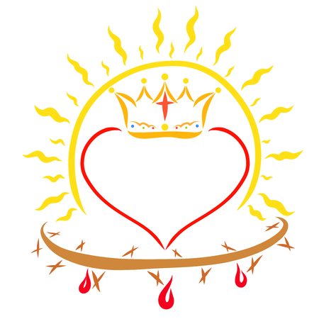 Sun shining above the heart with a crown and crown of thorns with blood