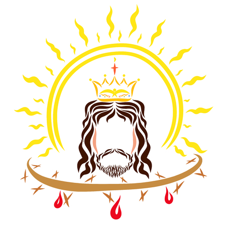 King Jesus Christ, the shining sun and the crown of thorns with blood