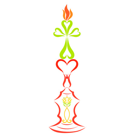Candlestick with heart, lily and Christian fish, candle in the form of a cross