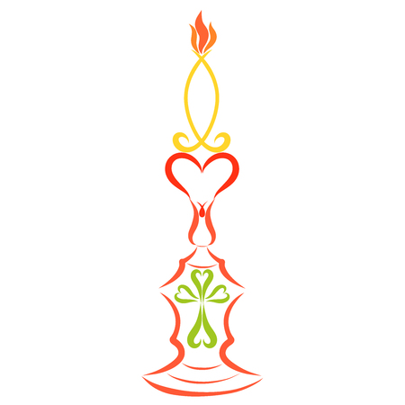 Candle in the shape of a fish on a candlestick with a heart and a cross