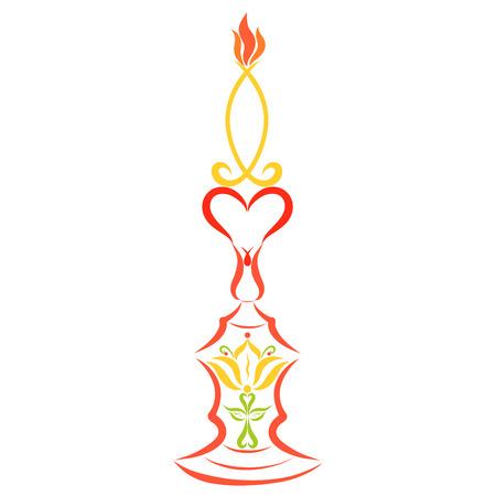 Burning candle, Christian symbolism, colorful pattern, decor
