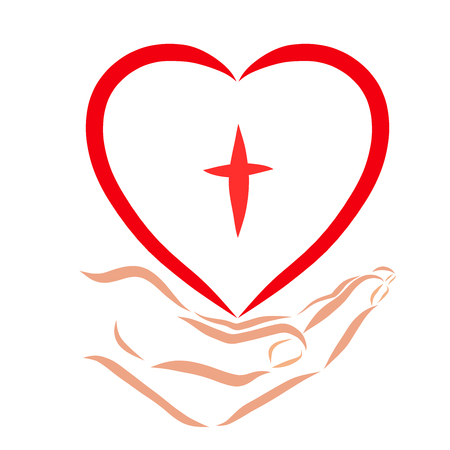 Hand giving heart with the image of the cross, faith