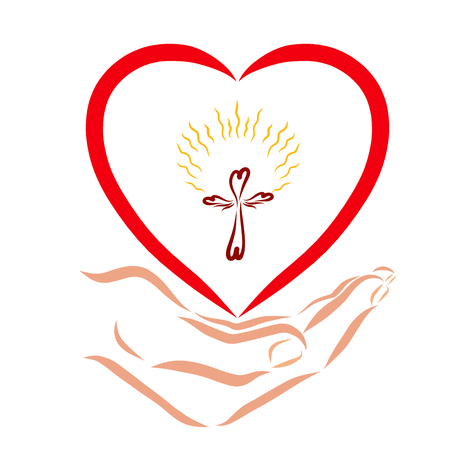 Hand holding heart with a shining winged cross