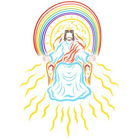 King Jesus on the throne, rainbow, sun and radiance